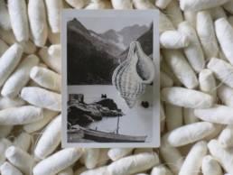 Broche ceramique de stephanie cahorel sur carte postale vintage chez chromosome a lille